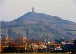 The Tor, with Chalice Hill and the town in front